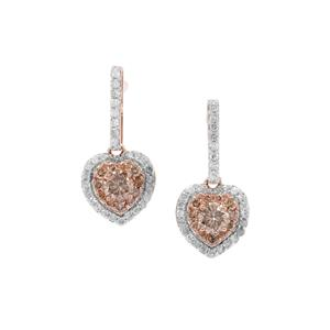 Champagne Diamond Earrings with White Diamond in 9K Rose Gold 1.04cts