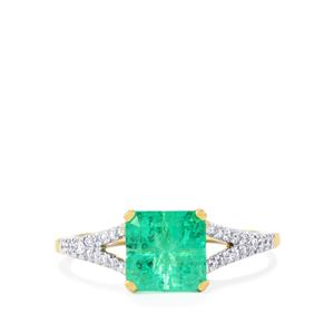 Lehrer Bennett Colombian Emerald Ring with Diamond in 18K Gold 2.32cts