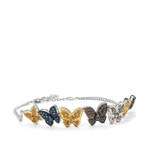 1ct Multi-Colour Diamond Sterling Silver Bracelet