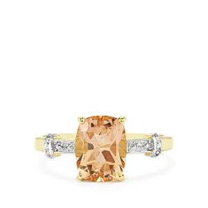 Galileia Topaz Ring with White Zircon in 10k Gold 2.58cts