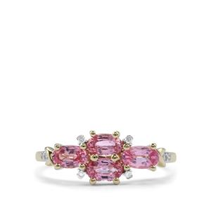 Sakaraha Pink Sapphire Ring with Diamond in 9K Gold 1.31cts