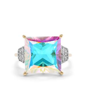 Mercury Mystic Topaz Ring with Diamond in 9K Gold 9.86cts