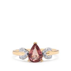 Padparadscha Sapphire Ring with Diamond in 18K Gold 1.25cts
