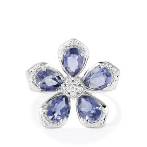 Bengal Iolite & White Topaz Sterling Silver Ring ATGW 2.68cts