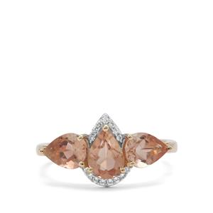 Oregon Cherry Sunstone Ring with White Zircon in 9K Gold 2cts