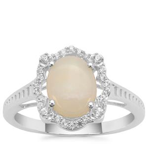 Coober Pedy Opal Ring with White Zircon in Sterling Silver 1.20cts