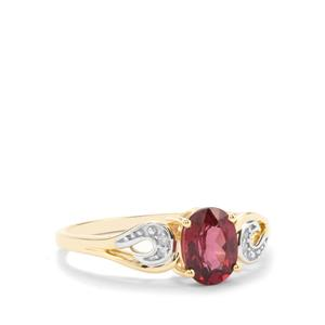 Malawi Garnet Ring with Diamond in 10K Gold 1.12cts