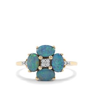 Crystal Opal on Ironstone & White Zircon 10K Gold Ring