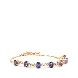 AAA Tanzanite Bracelet with Diamond in 18K Gold 4cts