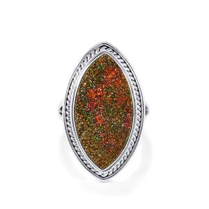 Spectropyrite Drusy Ring in Sterling Silver 12cts