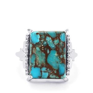 Egyptian Turquoise Ring with White Topaz in Sterling Silver 10.37cts