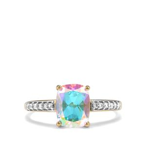 Mercury Mystic Topaz Ring with White Zircon in 10k Gold 2.71cts