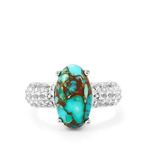 Egyptian Turquoise & White Topaz Sterling Silver Ring ATGW 5.05cts