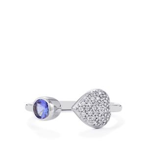 AA Tanzanite & White Zircon Sterling Silver Ring ATGW 0.67ct