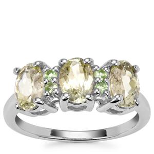Sillimanite Ring with Tsavorite Garnet in Sterling Silver 2.67cts