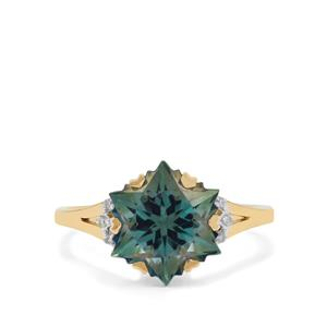 Wobito Snowflake Cut Ocean Blue Topaz Ring with Diamond in 9K Gold 5.45cts