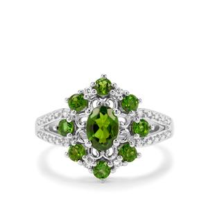 Chrome Diopside & White Zircon Sterling Silver Ring ATGW 1.80cts