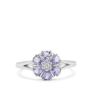 Tanzanite Ring with White Zircon in Sterling Silver 0.90ct