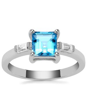 Swiss Blue Topaz Ring with White Zircon in Sterling Silver 1.48cts