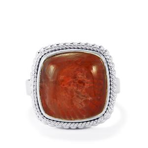 Fossil Red Coral Ring in Sterling Silver 10cts