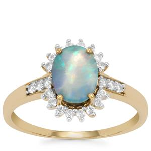 Crystal Opal on Ironstone Ring with White Zircon in 10k Gold