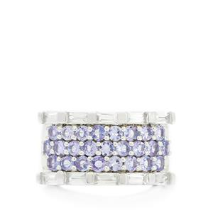 AA Tanzanite & White Topaz Sterling Silver Ring ATGW 3.17cts