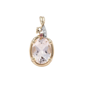 Alto Ligonha Morganite, Pink Tourmaline Pendant with White Zircon in 9K Gold 1.07cts
