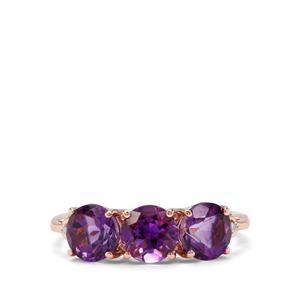 Moroccan Amethyst & Diamond 9K Rose Gold Ring ATGW 2.34cts