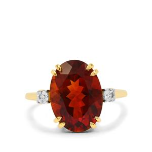 Madeira Citrine Ring with White Zircon in 9K Gold 5.15cts