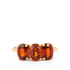 Cognac Zircon Ring in 10K Gold 3.65cts