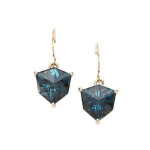 Alpine Cut London Blue Topaz Earrings in 10K Gold 6.66cts