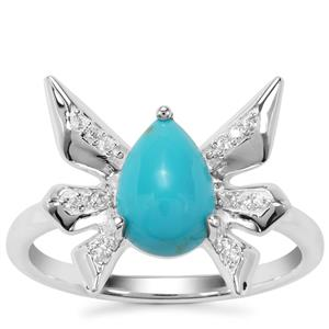 Sleeping Beauty Turquoise Ring with White Zircon in Sterling Silver 1.19cts
