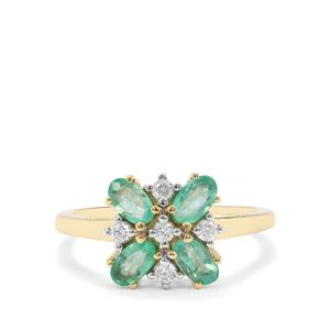 Colombian Emerald & White Zircon 9K Gold Ring ATGW 1.17cts