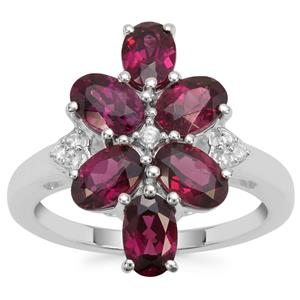 Tocantin Garnet Ring with White Zircon in Sterling Silver 3.69cts