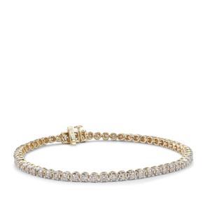 Champagne Diamond Bracelet in 9K Gold 3cts
