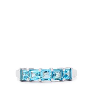 Electric Blue Topaz Ring in Sterling Silver 1.96cts