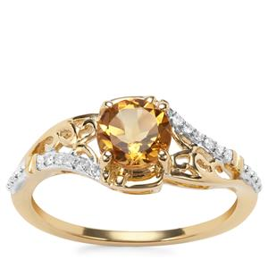 Mansa Beryl Ring with Diamond in 9K Gold 0.83ct