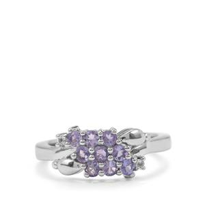 Tanzanite & White Topaz Sterling Silver Ring ATGW 0.65cts