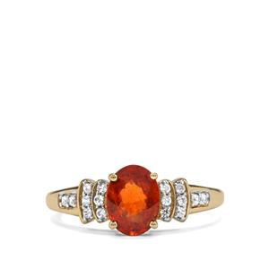 Mandarin Garnet Ring with White Zircon in 10K Gold 1.94cts