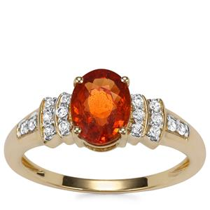 Mandarin Garnet Ring with White Zircon in 9K Gold 1.94cts