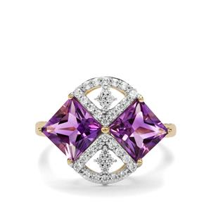 Moroccan Amethyst & White Zircon 10K Gold Ring ATGW 3.63cts