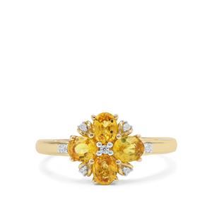 Tanzanian Canary Sapphire & White Zircon 9K Gold Ring ATGW 1.36cts