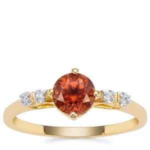 Zanzibar Sunburst Zircon Ring with White Zircon in 9K Gold 1.28cts
