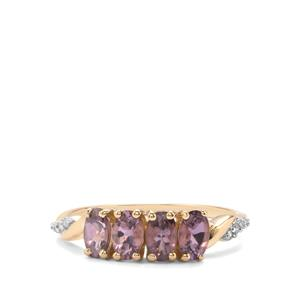 Mahenge Purple Spinel Ring with Diamond in 9K Gold 1.06cts