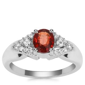 Burmese Red Spinel Ring with White Zircon in Sterling Silver 1.38cts