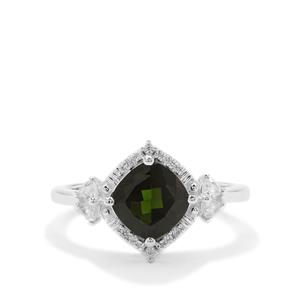 Chrome Diopside Ring with White Zircon in Sterling Silver 1.76cts