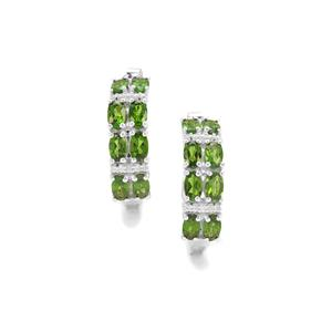 Chrome Diopside Earrings with White Zircon in Sterling Silver 5.48cts
