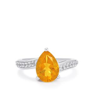 Honey American Fire Opal Ring with White Topaz in Sterling Silver 2.13cts