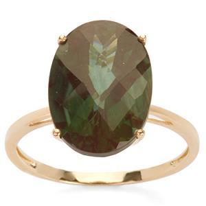 Green Andesine Ring in 9K Gold 5.05cts