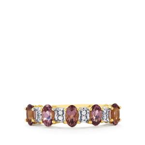 Mahenge Spinel Ring with White Zircon in 10k Gold 1.23cts